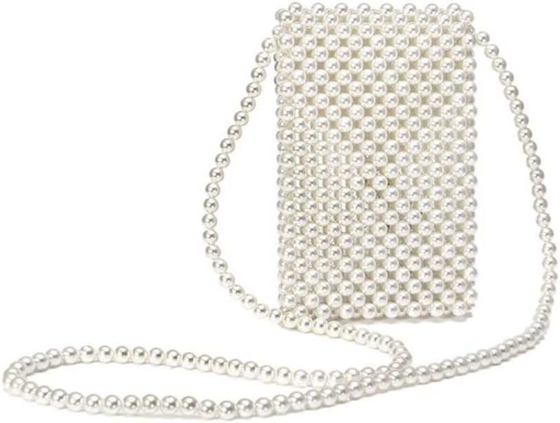 Mobile Phone Bag Wild Mini Bag Yikuo Pearl Bag Hand-Woven Crossbody Bag White Size : S Polyester Boutique Three Sizes