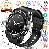 Smart Watch,Bluetooth Smartwatch Touch Screen Wrist Watch with Camera/SIM Card Slot,Waterproof Phone Smart Watch Sports Fitness Tracker for Android iPhone iOS Phones Samsung Huawei (Black)
