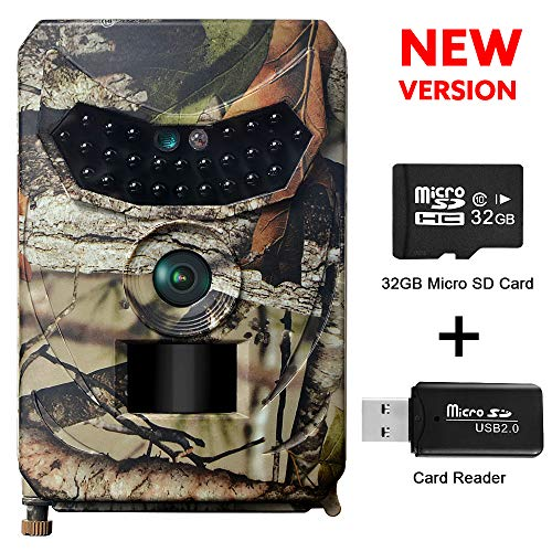 OWSEN Trail Camera 12MP 1080P Wildlife Camera Motion Activated 26pcs IR LEDs Night Vision, IP56 Waterproof Game Camera Hunting Camera with 120°Wilde Angle, Overwrite Function, 32GB TF Card Included by OWSEN