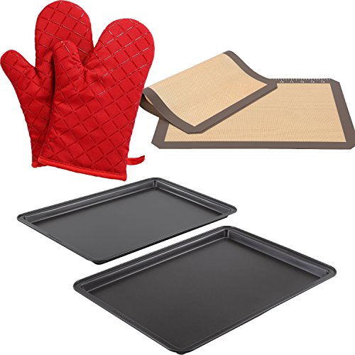Baker's Secret Essentials 2-pc Large and Medium Cookie Sheet Value Pack, Non-Slip Kitchen Gloves for Cooking and 2-piece Silicone Baking Mats Set by Baker's Secret