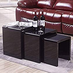 Mecor Nesting Coffee Table Set, 3 Piece Glass Top Coffee Side End Table W/High Gloss Black for Living Room (Set of 3, MDF)