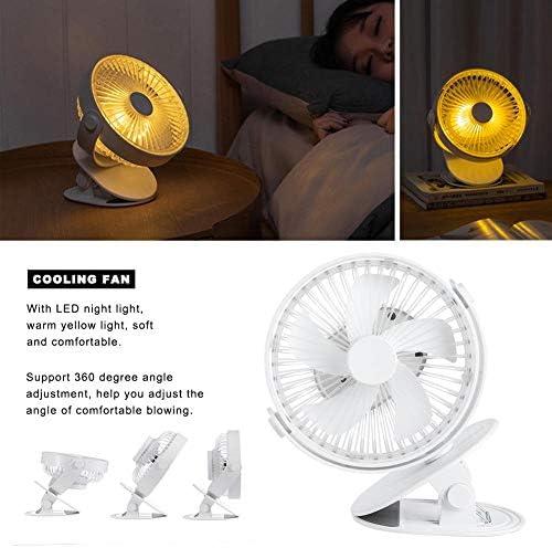 Qinlorgon Ventilatore, Mini Ventola di Raffreddamento silenziosa Portatile da Tavolo, Ventilatore di Ricarica USB Elettrico con Luce Notturna a LED