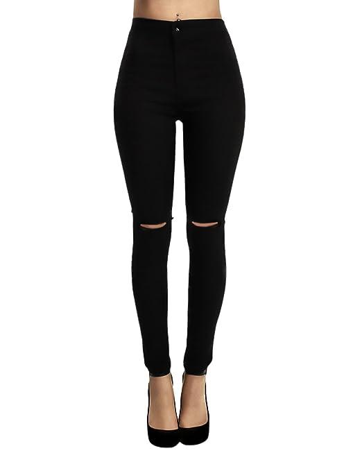 Yidarton Donna Ginocchio Strappati Sexy Skinny Jeans delle Donna Pantaloni  A Vita Alta Legging Eleganti  Amazon.it  Abbigliamento c0ad74b62ab