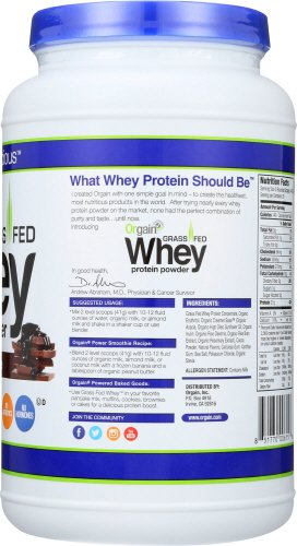 Large Product Image of Orgain Grass Fed Whey Protein Powder, Creamy Chocolate Fudge, Vegan, Non-GMO, Gluten Free, 1.82 Pound, 1 Count