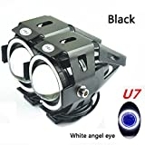 Motorcycle LED headlight CREE U7 high & low beam Strobe lamp 3 modes white angel eye waterproof 30w 3000LMW IP55 2pcs