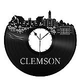 VinylShopUS - Clemson Canada City Skyline Vinyl Wall Clock Cityscape Ideal for Room Decorative | Home Decoration