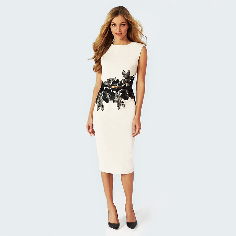 Minetom Damen Elegant Ärmellos Schößchen Blumen Business Kleid Abendkleid  Cocktailkleid Mini Bleistift Kleid mit Gürtel: Amazon.de: Bekleidung