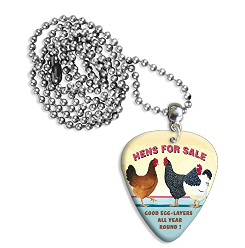 Hens For Sale Martin Wiscombe Guitar Pick Necklace Vintage Retro