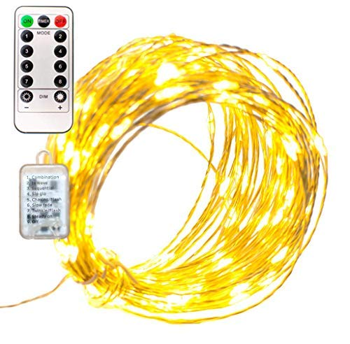 LED Christmas Fairy String Lights 40FT Plug-in 120L Remote Control Operated 8 Function 12V Transformer Silver Wire Warm White Hanging Wire Lighting Wedding New Years Holidays Party Decorating]()