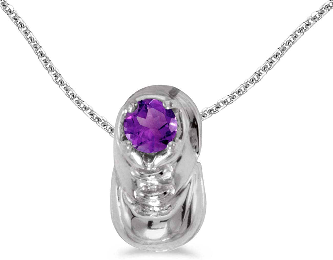10k White Gold Round Amethyst Baby Bootie Pendant with 18 Chain