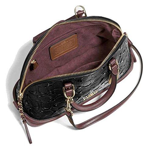 Coach Sierra Satchel in Signature Debossed Patent Leather, Black Oxblood