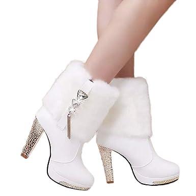 check out 4c2a9 725cc Stiefel Damen Boots High Heels Schuhe Tube Leder Stiefel Frauen Wedge  Strass Mitte Stiefeletten Warm halten