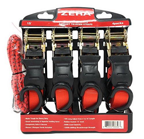 - Ratchet TIE Down Straps - 4 Packs (15FT X 1'')(500LB Working Load)(680KG/1500LB Breakthrough Strength) with 2 Bungee Cords(Bonus)