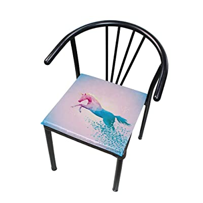 "Bardic HNTGHX Outdoor/Indoor Chair Cushion Geometric Unicorn Horse Square Memory Foam Seat Pads Cushion for Patio Dining, 16"" x 16"": Home & Kitchen"