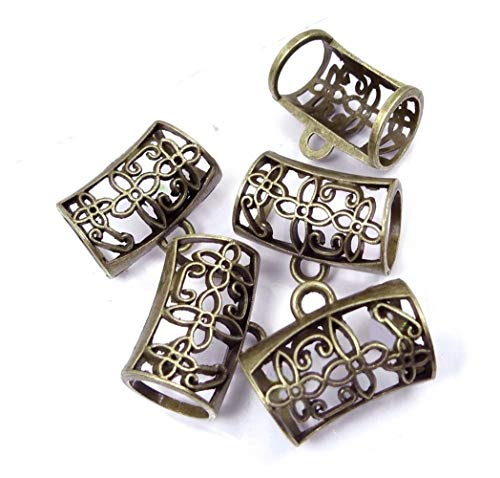 Alexandrite Slide (5 Pcs Scarf Pendant Charm Holding Antique Bronze Pewter Tube Slide Scarves Jewelry Making Supplies Craft DIY Kit)