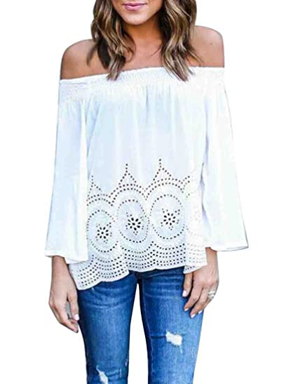 dc54604aae666 Image Unavailable. Image not available for. Color  YUNY Womens Long Sleeve  Off Shoulder Floral Chiffon Blouse Tops White XS