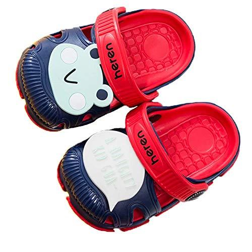 JILIGUALA Children's Cute Garden Shoes Cartoon Slide Sandals Wooden Bottom Children's Beach Slippers Water Shoes Red 16 (Children/Children) ()