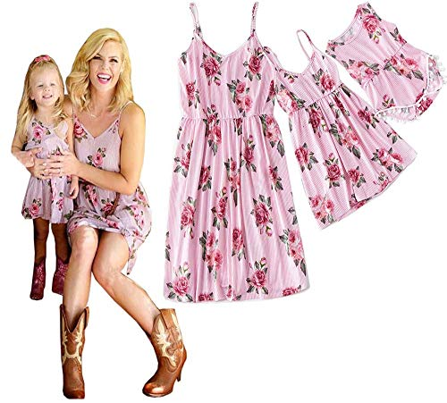 Mommy and Me Dresses Floral Print Spaghetti Straps Maxi Dress Family Matching Sleeveless High Waist Long Dress Sundress (Pink Striped, Baby/0-6 Months)]()