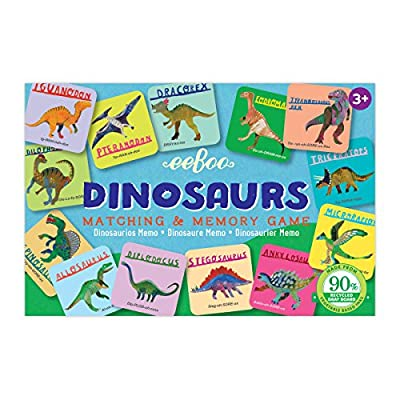 eeBoo Dinosaurs Memory Matching Game, Road Trip Travel Game for kids