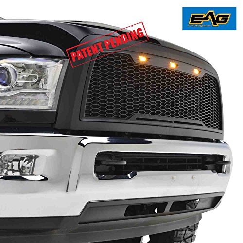 EAG Replacement Ram ABS Grille - Matte Black - With Amber LED Lights for 10-12 Dodge Ram - Dodge 3500 Grille 2011