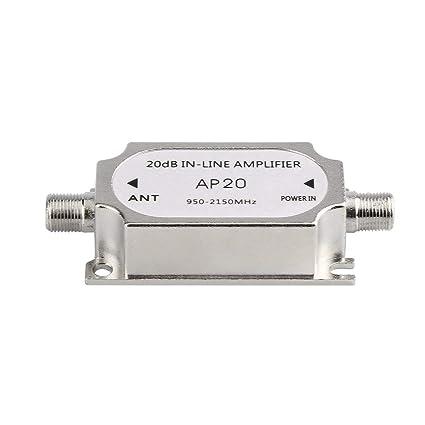 Amplificador en línea, 950-2150MHz satélite 20dB Amplificador de señal para Cables de la