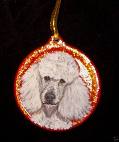 White Poodle Dog Christmas Ornament Custom Hand Painted