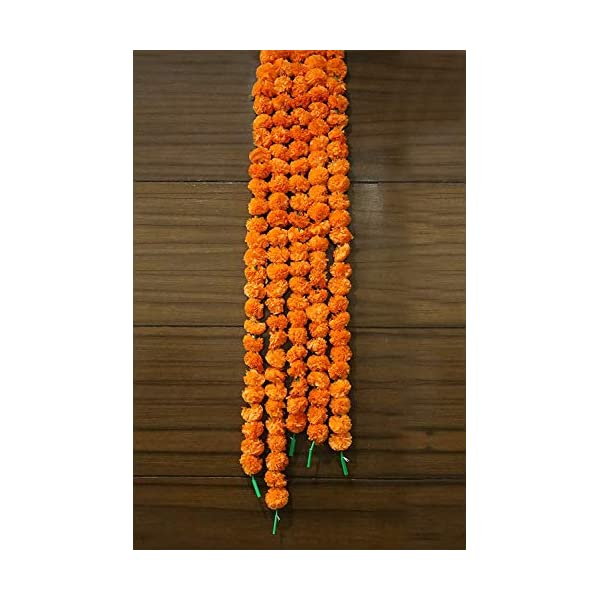 Pack of 5 Artificial Marigold Flower Garlands 5 ft Long- for use in Parties, Celebrations, Indian Weddings, Indian Themed Event, Decorations, House Warming, Photo Prop, Diwali, Ganesha Fest