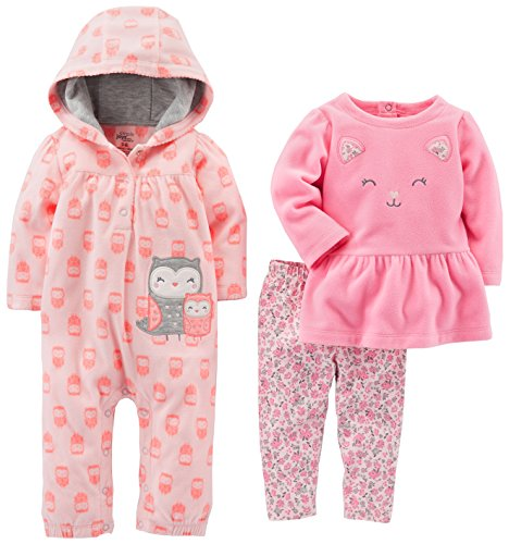 Simple Joys by Carter's Girls' 3-Piece Playwear Set, Pink Owl, 24 Months