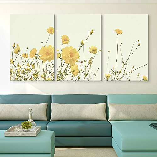 3 Panel Yellow Wild Flowers Gallery x 3 Panels