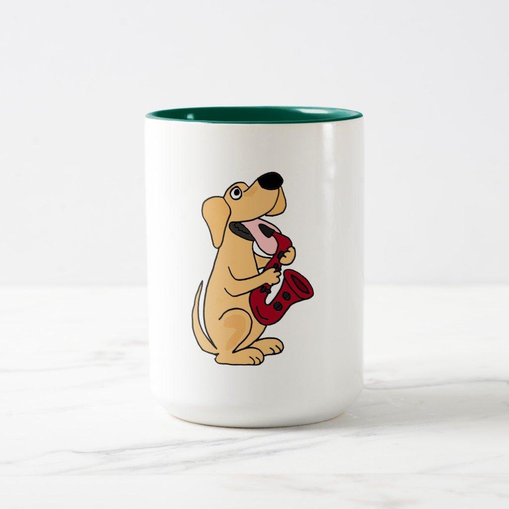 Zazzle xx-子犬犬Playing Saxophone Cartoon旅行マグ 15 oz, Two-Tone Mug グリーン b2077c3c-f289-6948-e987-aee6b36d1202 B078F6X7T5  ハンターグリーン 15 oz, Two-Tone Mug