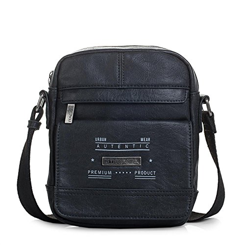 ITACA - T26021 Schultertasche Mann. Messenger Bag an Schulter, Reißverschluss. Mehrere Fächer. Synthetisches Leder., Color Braun Schwarz