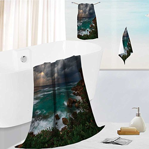 simple luxury superior bath towel set Sunset over rocky coast of Indian Ocean Bali island,Indonesia for Hotels, Home, Bathrooms 19.7''x19.7''-13.8''x27.6''-31.5''x63'' by Auraise Home