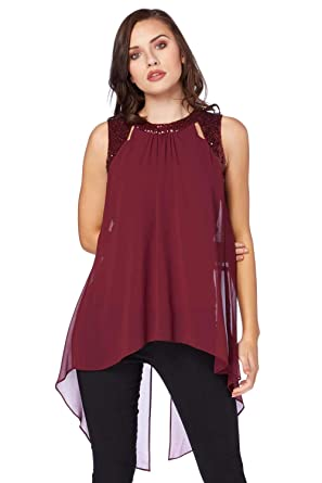 c1229d4a44b Roman Originals Women's Red Sequin Cut Out Double Layer Top Sizes 10-20 -  Red