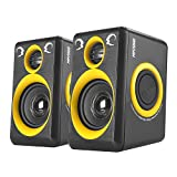 Computer Speakers with Surround Sound 2.0CH USB Wired Powered Multimedia Speaker for Desktop/TV/PC/Laptops/Smart Phone RECCAZR Built-in Four Loudspeaker Diaphragm (Yellow)
