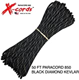 X-CORDS Paracord 850 Lb Stronger Than 550 and 750 Made by Us Government Certified Contractor (Black Diamond Kevlar 50 FEET)