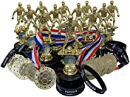 12 PK of Boys Soccer Trophy Award Kits That Include Silicone Soccer Wrist Bands Bright Gold Metal Award Medals