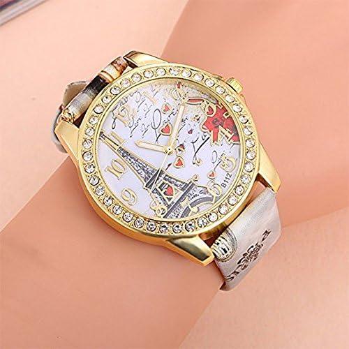 Oyfel. Montre Femme Avaner Montre Bracelet à Quartz Cadran Numérique Échelle de Barre Motif de la Tour Eiffel PU Cuir Bande Bracelet en Cuir Bracelet Montre Femmes élégant