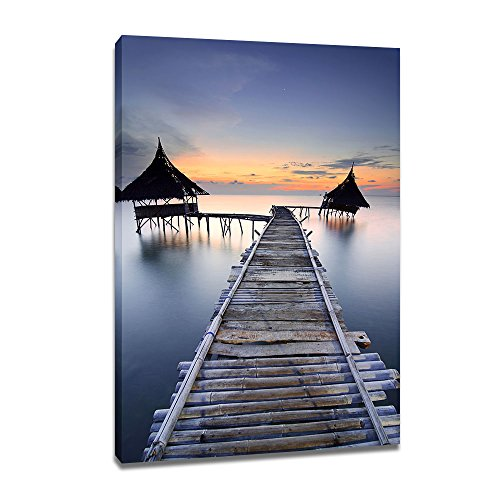 DVQ Art Pier with Sunset Wall Art Painting, Beautiful Boardwalk Landscape Print on Canvas, Framed Seascape Print Poster for Living Room Bedroom Decor 1 ()