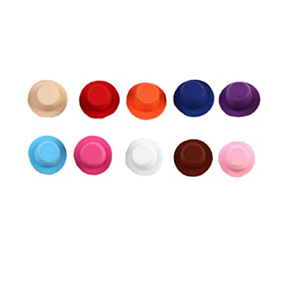 Exceart 10pcs Mini Hats Miniature Craft Doll Hats DIY Crafts Hair Accessories Kids Toys Random Color: Clothing