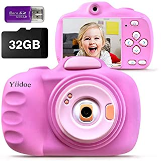Kids Camera for Girls Boys, HD 12MP Digital Camera for Kids with Silicone Protective Cover, 1080P Shockproof Digital Video Camcorder Rechargeable with Front and Rear Selfie Lens 32GB SD Card - Pink