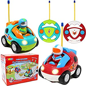 JOYIN 2 Pack Cartoon RC Race Car Radio Remote Control with Music & Sound Toy for Baby, Toddler, Kids and Children Cars, School Classroom Prize, Christmas Stocking Stuffer and 2 Year Old