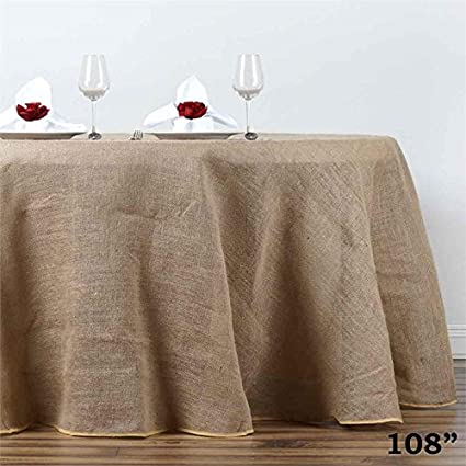 BalsaCircle 108 Inch Natural Brown Burlap Jute Rustic Round Tablecloth  Country Chic Wedding Party Dining