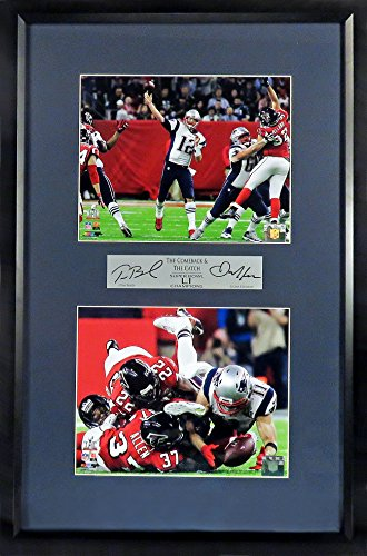 "New England Patriots Memorabilia - New England Patriots Tom Brady & Julian Edelman ""The Comeback & The Catch"" SB LI 8x10 Stack Display (SGA Signature Engraved Plate Series) Framed"