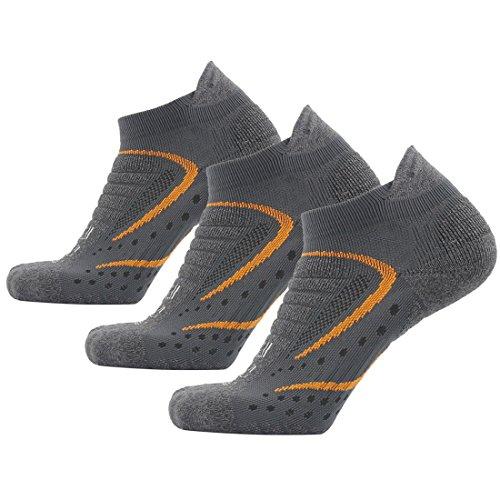 Facool Men's Dri Fit Antibacterial Seamless Toe Sport Comfort Quarter Running Hiking Camping Socks 3 Pairs Gray&Orange