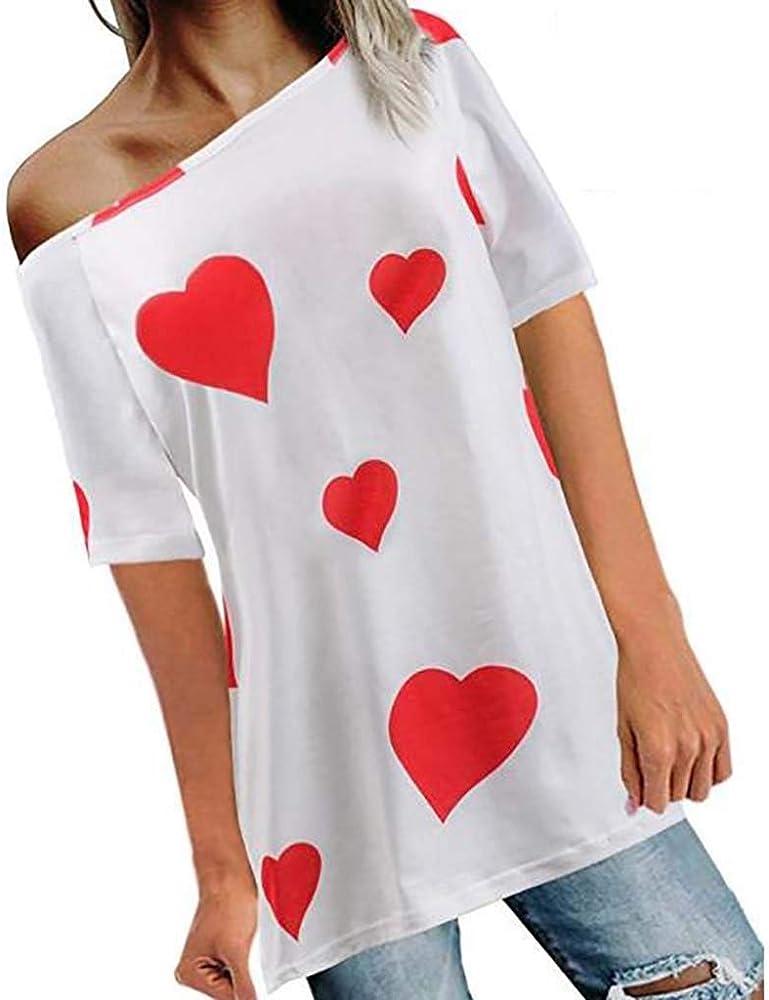 PARVAL Camiseta con Estampado de Corazones para Damas Manga Corta Mujer de Verano Manga Corta Ne-Hombro Blusa con Cuello Redondo Blusa con Tope Casual Top para Verano y Primavera Fiesta de