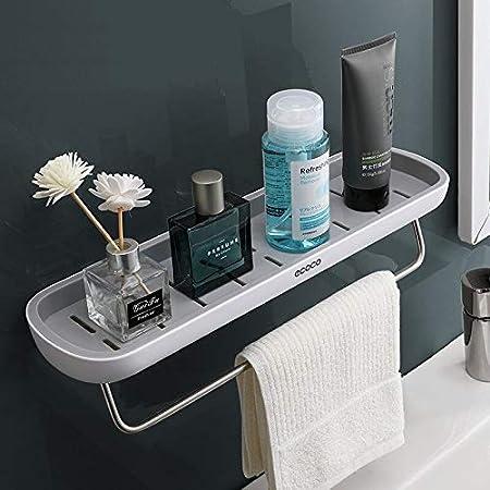 Skroad Estanterías para baño,Adhesivo estanteria Ducha con Barra de Toalla, Aluminio Espesamiento estanteria baño sin Taladro montado en la Pared ...
