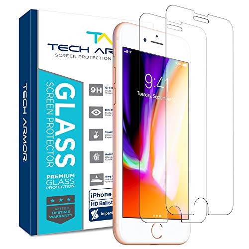 Tech Armor Ballistic Glass Screen Protector for Apple iPhone SE 2020 / iPhone 6 / 6S, iPhone 7, iPhone 8 (4.7″) – 99.99% Clarity and 3D Touch Accuracy [2 -Pack]