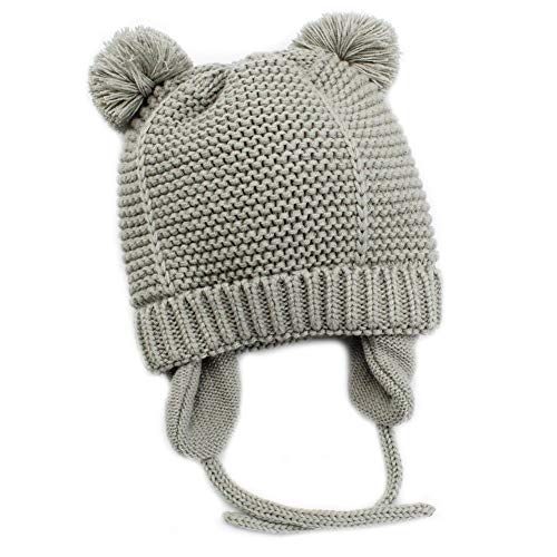 Baby Beanie Earflaps Hat - Infant Toddler Girls Boys Soft Warm Knit Hat Kids Winter Hat with Fleece Lining (Grey,S)
