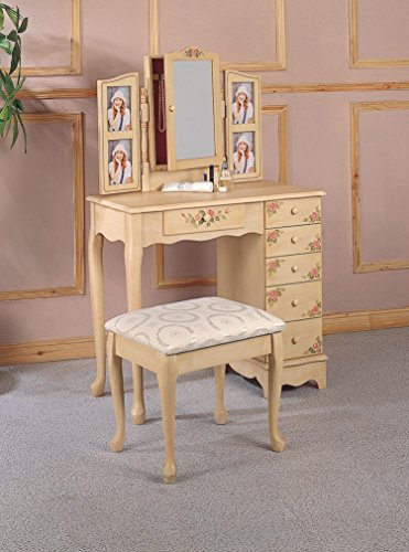 Coaster Queen Anne Style Vanity Table and Stool/Bench Set, Hand (Chest Of Drawers Queen Anne Style)