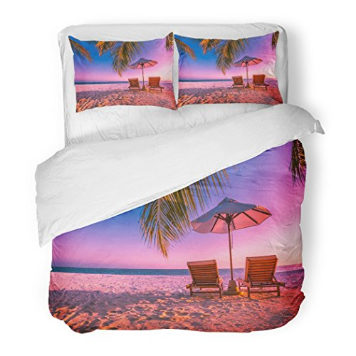 SanChic Duvet Cover Set Exotic Tropical Beach Sunset Colorful Landscape for Romantic Scene with Chairs and Sand of Tourism Summer Decorative Bedding Set with 2 Pillow Shams Full/Queen Size by SanChic
